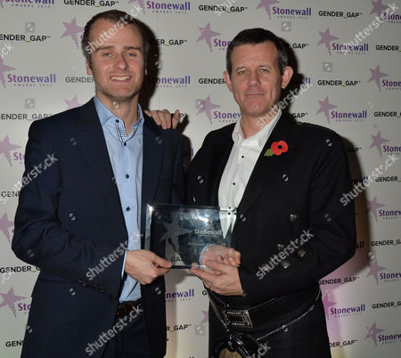Stock Picture of Stonewall Awards 2013 at the V&a Publication of the Year Metro Editor Kenny Campbell & Andrei Harmsworth