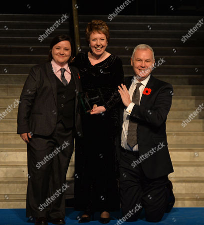 Stock Photo of Stonewall Awards 2013 at the V&a Baroness Stowell of Beeston and Writer of the Year with the Evening Host Susan Calman and Ben Summerskill Stonewall Chief Executive