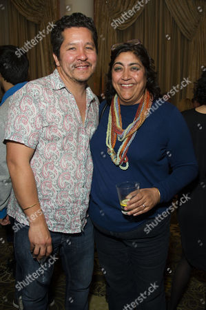 Sundance Film Festival Launch Drinks at the Langham Hotel Gurinder Chadha with Her Husband Paul Mayeda Berges