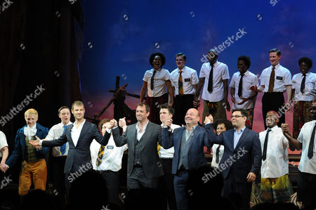 the Book of Mormon Press Night Curtain Call at the Prince of Wales Theatre Bobby Lopez Trey Parker Matt Stone and Casey Nicholaw