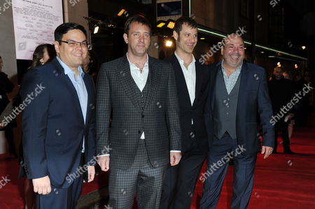 Stock Picture of the Book of Mormon Press Night Arrivals at the Prince of Wales Theatre Bobby Lopez Trey Parker Matt Stone and Casey Nicholaw