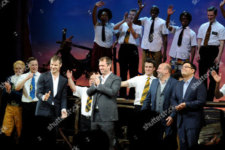 Stock Image of the Book of Mormon Press Night Curtain Call at the Prince of Wales Theatre Bobby Lopez Trey Parker Matt Stone and Casey Nicholaw