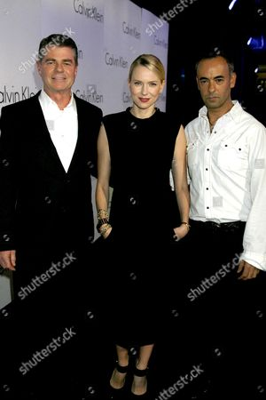the Calvin Klein 2008 Spring Collections Launch at P3 35 Marylebone Road Tom Murry (president and Coo of Calvin Klein) Naomi Watts and Francisco Costa