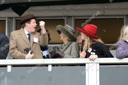 the Cheltenham Festival Ladies Day at Cheltenham Racecourse Tom Parker Bowles Camilla the Duchess of Cornwall and Laura Lopes Watch Windsor Park Win the First Race