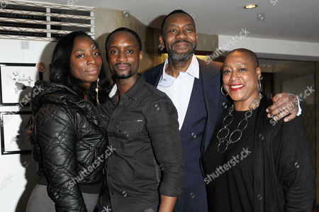 Stock Picture of the Critics Circle Theatre Awards at the Prince of Wales Theatre Leicester Square Tanya Moodie Peter Bankole and Lenny Henry with Director Paulette Randall