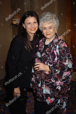 The Laurence Olivier Awards 2004 at the Park Lane Hilton London Uk Dame Joan Plowright the Lady Olivier with Tracy Ullman