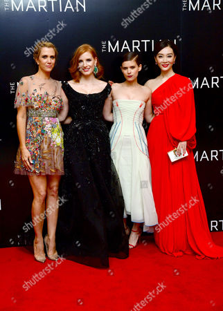'The Martian' European Premiere at Odeon Leicester Square Kristen Wiig Jessica Chastain Kate Mara and Chen Shu