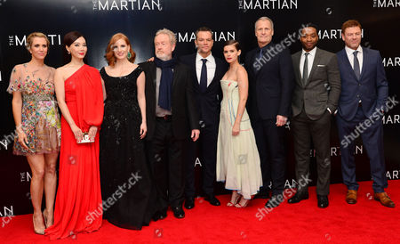 'The Martian' European Premiere at Odeon Leicester Square Kristen Wiig Chen Shu Jessica Chastain Director Ridley Scott Matt Damon Kate Mara Jeff Daniels Chiwetel Ejiofor and Sean Bean