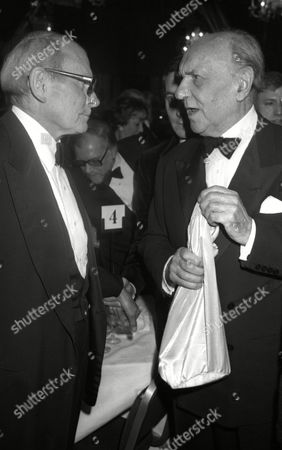 the S W E T Awards (society of West End Theatre Awards Now Known As the Oliviers) at the Cafe Royal Sir Ralph Richardson and Lord Laurence Olivier