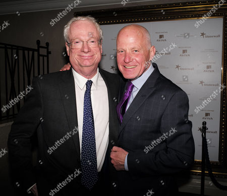 the Stonewall Equality Dinner Drinks Reception at the London Hilton On Park Lane Mayfair London Lord Chris Smith with Lord Michael Cashman