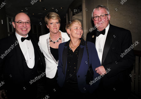 the Stonewall Equality Dinner Drinks Reception at the London Hilton On Park Lane Mayfair London Neil Sinclair Clare Balding Alice Arnold & Christopher Biggins