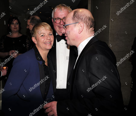the Stonewall Equality Dinner Drinks Reception at the London Hilton On Park Lane Mayfair London Alice Arnold Christopher Biggins & Neil Sinclair