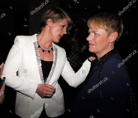 the Stonewall Equality Dinner Drinks Reception at the London Hilton On Park Lane Mayfair London Clare Balding with Alice Arnold