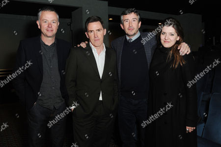 Stock Photo of Actors Rob Brydon and Steve Coogan with the Director Michael Winterbottom and Producer Melissa Parmenter Attend A Private Screening of 'The Trip to Italy' to Be Screened at 10pm On Bbc2 Friday April 4th