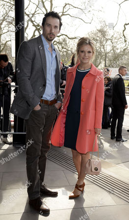 Tric Awards Arrivals at the Park Lane Hotel David Caves and Emilia Fox