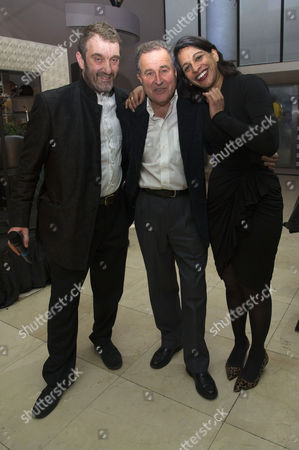 Tricycle Theatre's Annual Fundraiser Drinks Reception at Quaglino's Mayfair Jonathan Levy (chairman of the Board) with Nicolas Kent and Indhu Rubasingham Nicholas Kent is Stepping Down As Director of the Tricycle with Indhu Taking Over