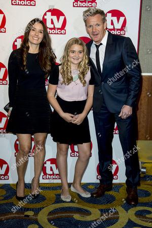 Tv Choice Awards 2014 at the Hilton Hotel Park Lane Gordon Ramsay with His Wife Tana Ramsay and Daughter