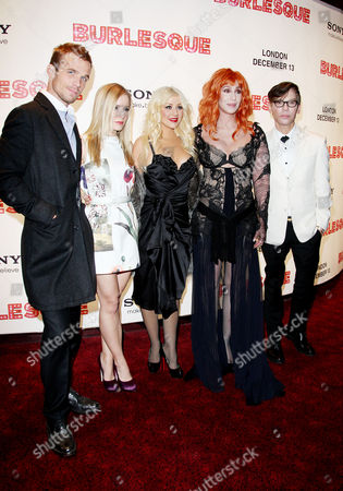 Uk Gala Premiere of 'Burlesque' at the Empire Leicester Square Cam Gigandet Kristin Bell Christina Aguilera Cher and Director Steven Antin