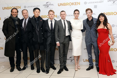 'Unbroken' Premiere at the Odeon Leicester Square Alexandre Desplat Matthew Baer (producer) Miyavi Ross Anderson Jack O'connell Angelina Jolie Luke Treadaway and Maddalena Ischiale