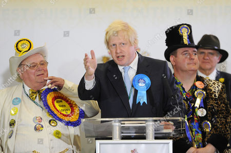 Uxbridge and South Ruislip Parliamentary Election Count at Brunel University Howling Laud Hope (looney Party) Boris Johnson Mp For Uxbridge and Lord Toby Jug (eccentric Party of Gb)
