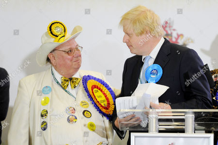 Uxbridge and South Ruislip Parliamentary Election Count at Brunel University Howling Laud Hope (looney Party) and Boris Johnson Mp For Uxbridge