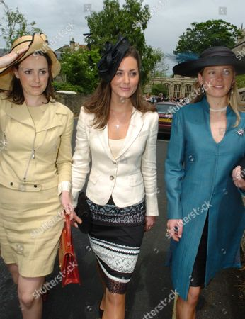 The Wedding of Hugh Van Cutsem Junior to Rose Astor at Burford Parish Church Burford Uk Kate Middleton (c)with Davina Duckworth-chad (r)