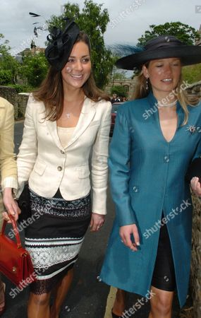The Wedding of Hugh Van Cutsem Junior to Rose Astor at Burford Parish Church Burford Uk Kate Middleton with Davina Duckworth-chad
