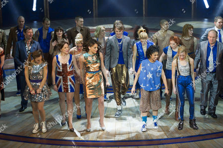 Viva Forever First Night Curtain Call at the Piccadilly Theatre Cast Take A Curtain Call with Dominique Provost-chalkley Sally Anne Triplett Hannah John-kamen Siobhan Athwal and Lucy Phelps