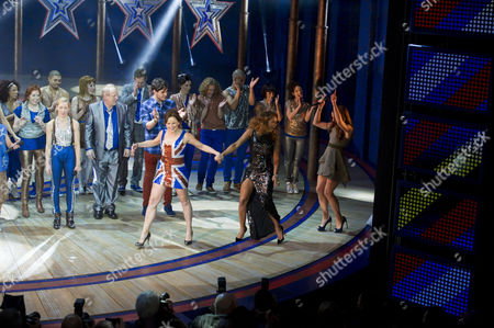 Viva Forever First Night Curtain Call at the Piccadilly Theatre Cast Take A Curtain Call with Dominique Provost-chalkley Hannah John-kamen Sally Anne Triplett Siobhan Athwal Lucy Phelps Bring Melanie Brown and Melanie Chisholm with the Other Spice Girls Onto Stage