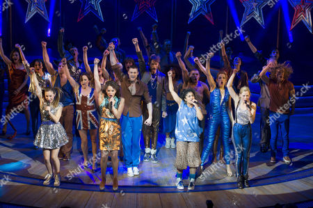 Stock Image of Viva Forever First Night Curtain Call at the Piccadilly Theatre Cast Take A Curtain Call with Dominique Provost-chalkley Hannah John-kamen Sally Anne Triplett Siobhan Athwal Lucy Phelps