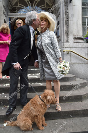 30 04 2015 Wedding of Patti Boyd (ex- Mrs George Harrison and Eric Clapton) to Her Partner of 25 Years Rod Weston at Kensington and Chelsea Register Office Kings Road West London the Dog Acted As Best Man