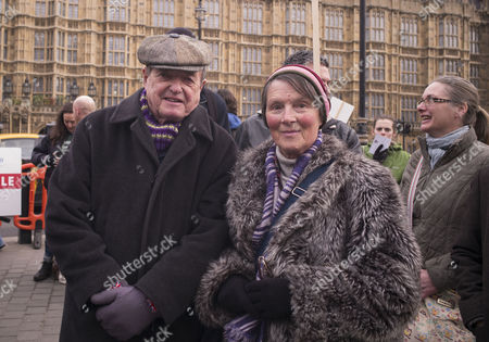 Stock Photo of Westminster Anti-fracking Rally at Old Palace Yard Protestors Plan to Lobby Parliament and Hand in A Petition Calling For an End to Plans For the Controversial Gas Extraction Method in the Uk James Bolam and His Wife Susan Jameson