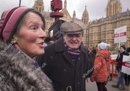 Westminster Anti-fracking Rally at Old Palace Yard Protestors Plan to Lobby Parliament and Hand in A Petition Calling For an End to Plans For the Controversial Gas Extraction Method in the Uk James Bolam and His Wife Susan Jameson