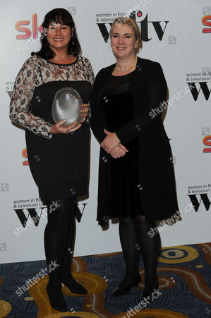 Women in Film and Television Awards 2013 at the Park Lane Hilton Caroline Wyatt Presents Julie Ritson (l) with the Panalux Craft Award