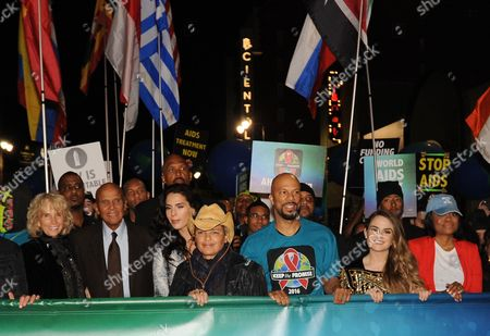 Harry Belafonte, Common, JoJo Harry Belafonte, his wife, Pamela, left, and his daughter Shari Belafonte, Common, and JoJo join more than a thousand advocates in AIDS Healthcare Foundation's 'Keep the Promise' March in Hollywood, CA on . The march took place down historic Hollywood Boulevard on the eve of World AIDS Day to raise awareness about HIV/AIDS and to persuade key decision makers in the US and around the globe to 'keep the promise' and commit more funds to HIV/AIDS prevention, care and treatment. A free Keep the Promise concert at the Dolby Theatre headlined by Patti LaBelle and Common and honoring legendary entertainer and humanitarian Harry Belafonte for his charitable work followed the march