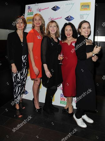 'Di Viv and Rose' Press Night Afterparty at Mintleaf Haymarket Samantha Spiro Jenna Russell and Tamzin Outhwaite with Amelia Bullmore (author) and Anna Mackmin (director)