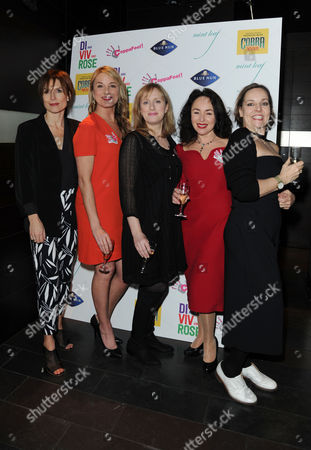 Stock Image of 'Di Viv and Rose' Press Night Afterparty at Mintleaf Haymarket Samantha Spiro Jenna Russell and Tamzin Outhwaite with Amelia Bullmore (author) and Anna Mackmin (director)