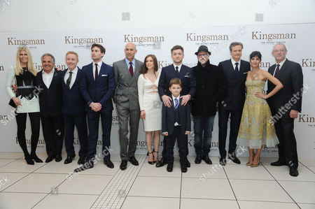 'Kingsman - the Secret Service' World Premiere at the Odeon Leicester Square Claudia Schiffer Mark Millar Taron Egerton Edward Holcroft Sophie Cookson Matthew Vaughn Mark Strong Sofia Boutella Colin Firth and Dave Gibbons