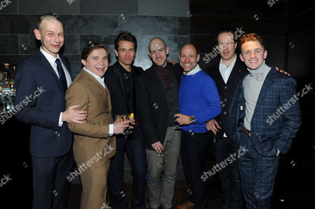 Stock Photo of 'My Night with Reg' Transfer Press Night at the Apollo Theatre and Afterparty at Mintleaf Haymarket Cast - Richard Cant Jonathan Broadbent Julian Ovenden Matt Bardock Geoffrey Streatfeild and Lewis Reeves with Director Robert Hastie