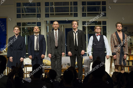 'My Night with Reg' Transfer Press Night at the Apollo Theatre and Afterparty at Mintleaf Haymarket Curtain Call - Lewis Reeves Matt Bardock Richard Cant Geoffrey Streatfeild Jonathan Broadbent and Julian Ovenden