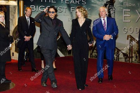 Mortdecai Uk Film Premiere at the Empire Leicester Square Johnny Depp and Amber Heard with Jerry Judge