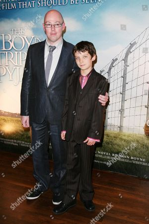 Reception Before the World Premiere of 'The Boy in the Striped Pyjama's' at 17 Berkeley Street at the Curzon Mayfair John Boyne and Asa Butterfield
