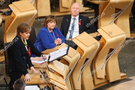 Nicola Sturgeon, First Minister of Scotland and Leader of the Scottish National Party (SNP), Fiona Hyslop, Cabinet Secretary for Culture, Europe and External Affairs, and Joe FitzPatrick