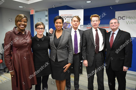 LaQuandra S. Nesbitt, Nancy Mahon, Muriel Bowser, Channing Wickham, Walter Smith, Michael Kharfen From left, D.C. Department of Health Director LaQuandra S. Nesbitt, MD, MPH; Senior Vice President of MAC Cosmetics Nancy Mahon; D.C. Mayor Muriel Bowser; Channing Wickham, Executive Director, Washington AIDS Partnership; Walter Smith, DC Appleseed Executive Director; and Senior Deputy Director of HAHSTA, D.C. Department of Health, Michael Kharfen after an announcement at the DC Health and Wellness Center on ending the HIV/AIDS epidemic in the district, in Washington