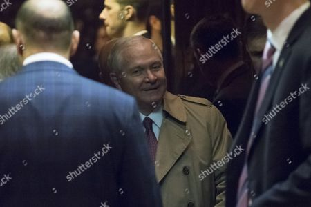 Former Secretary of Defence Robert Gates in an elevator in the lobby of Trump Tower