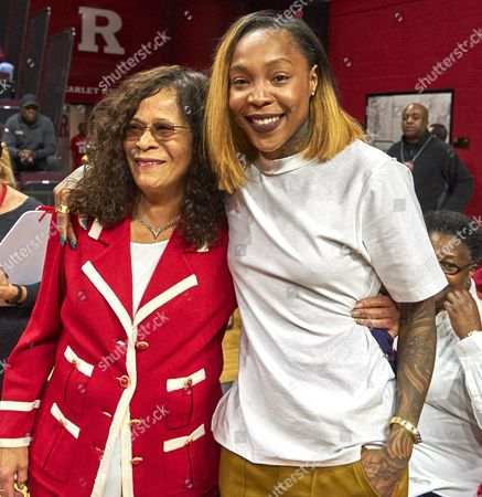 Piscataway, New Jersey, U.S. - Rutgers head coach C. Vivian Stringer and former player Cappie Pondexter before NCAA basketball action between the Duke Blue Devils and the Rutgers Scarlet Knights at Rutgers Athletic Center in Piscataway, New Jersey. Pondexter's jersey #25 was retired at halftime