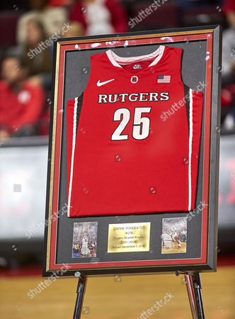 Piscataway, New Jersey, U.S. - Former Rutgers player Cappie Pondexter #25 jersey was retired at halftime during NCAA basketball action between the Duke Blue Devils and the Rutgers Scarlet Knights at Rutgers Athletic Center in Piscataway, New Jersey