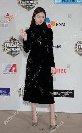 South Korean actress Han Hyo-joo poses for photos on the red carpet of the 2016 Mnet Asian Music Awards (MAMA) in Hong Kong