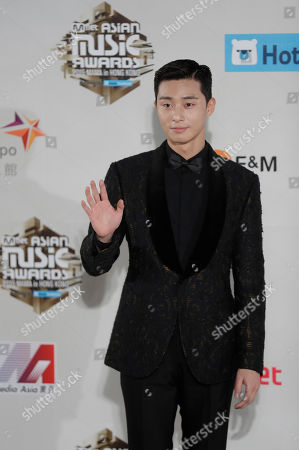 South Korean actor Park Seo-joon poses for photos on the red carpet of the 2016 Mnet Asian Music Awards (MAMA) in Hong Kong