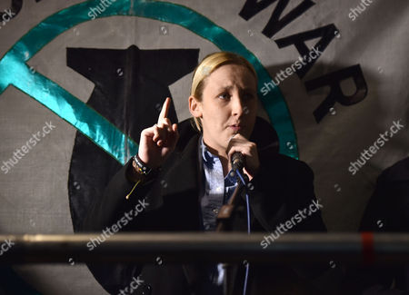 02 12 15 Anti Bombing Demo While Debate Goes On in the House in Parliament in Parliament Square Westminster the Snp's Mhairi Black